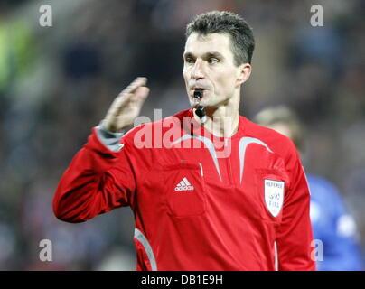 Referee Knut Kircher gestures during the Bundesliga match VfL Bochum v Karlsruhe SC at rewirpower stadium of Bochum, - Stock Image