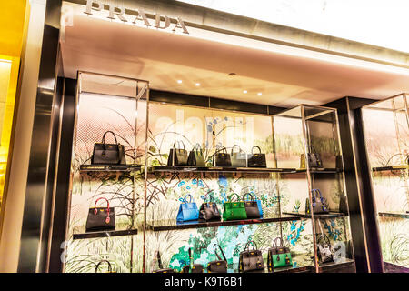 Prada handbags, Prada, Prada bags, Prada bag display, Prada handbag display, Prada shop display, handbags, bags, - Stock Image