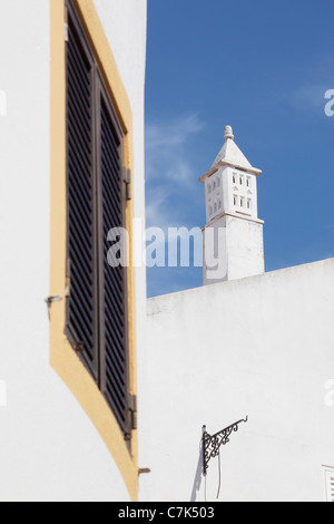 Portugal, Algarve, Alte, Window & Chimney - Stock Image