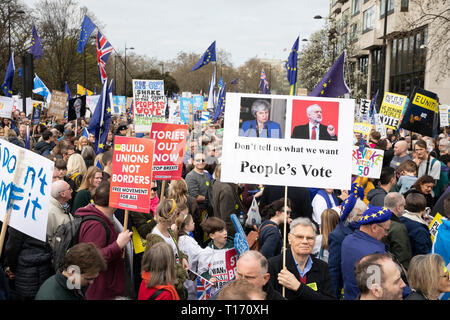 Marchers on People's Vote March, London, England - Stock Image