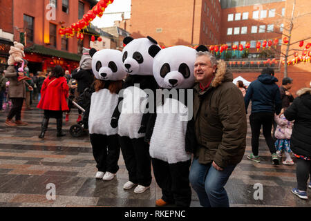 London, UK, 10 February, 2019. Chinese New year celebration at China Town, SOHO, London, UK. Panda Dressed peopleAlamy/Harishkumar Shah - Stock Image