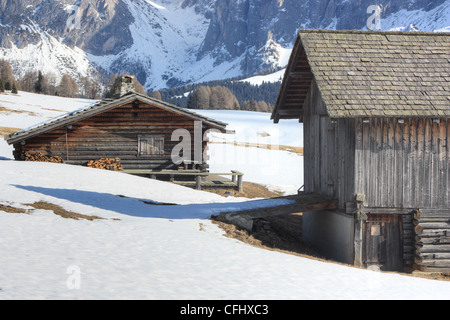 Cabins at Seiser Alm / Alpe di Siusi, South Tyrol, Italy - Stock Image