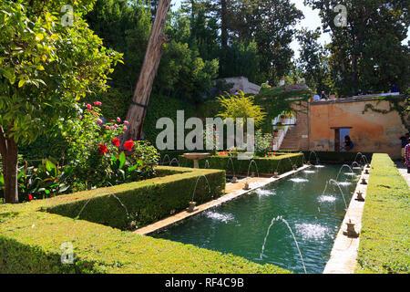 Patio de la Sultana at the Generalife Palace, Alhambra Granada Spain - Stock Image
