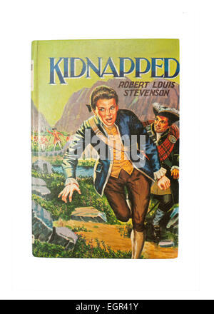 Front cover of a copy of the classic Robert Louis Stevenson novel, Kidnapped. - Stock Image
