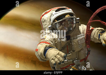 A cosmonaut floats in space above a large alien planet. - Stock Image