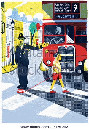 Policeman stopping bus for little boy to cross road with toy bus - Stock Image