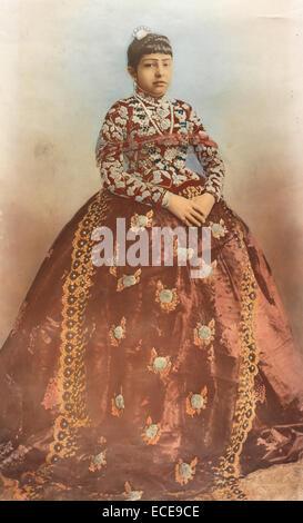 Portrait of Lalit Kumari (Lalita Rajya Lakshmi Devi), daughter of Hiranyagarbha Kumari and Maharaja Jang Bahadur, - Stock Image