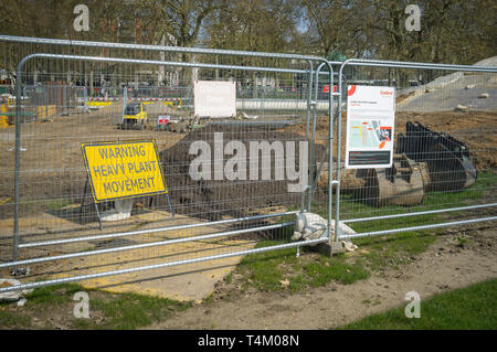 Building work for the London Gas Mains Upgrade in Hyde Park, London - Stock Image