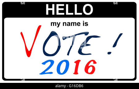 black sticker hello my name is vote 2016 concept, 2D rendering - Stock Image