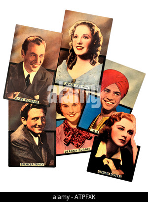 Late 1930s Film Star Hollywood Coloured Post Cards FOR EDITORIAL USE ONLY - Stock Image