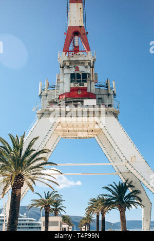 Crane in Porto Montenegro in Tivat in Montenegro against the blue sky. - Stock Image