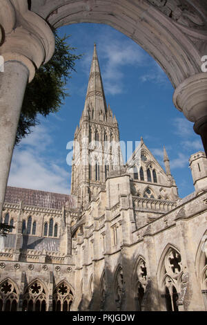Salisbury Cathedral through archway in the cloisters, Salisbury, Wiltshire, England - Stock Image