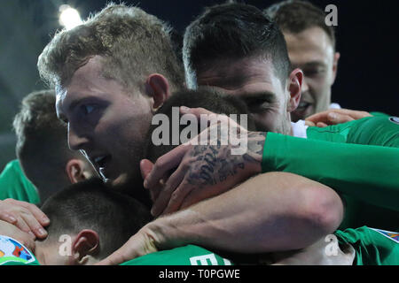 Belfast, UK. 21st Mar 2019. National Football Stadium at Windsor Park, Belfast, Northern Ireland. 21 March 2019. UEFA EURO 2020 Qualifier- Northern Ireland v Estonia. Action from tonight's game. Niall McGinn (back of head to camera) scored for Northern Ireland.  Credit: David Hunter/Alamy Live News. - Stock Image