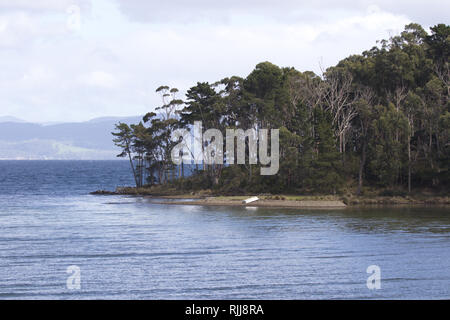 Small row boat rests overturned on beautiful isolated shore of Daniels Bay on Bruny Island in Tasmania - Stock Image