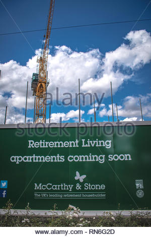 New development of McCarthy & Stone apartments for the retired, Codsall, Wolverhampton, UK - Stock Image