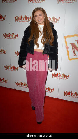 Celebrities attend 'Nativity! The Musical' Press Night held at the Hammersmith Apollo theatre  Featuring: Maisie Smith Where: London, United Kingdom When: 20 Dec 2018 Credit: WENN.com - Stock Image