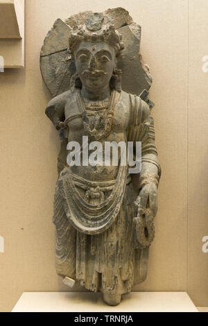 Grey Schist Bodhisattva. 2nd-5th Century. Central Gandhara. Department of Archaeology and Museums, Pakistan - Stock Image