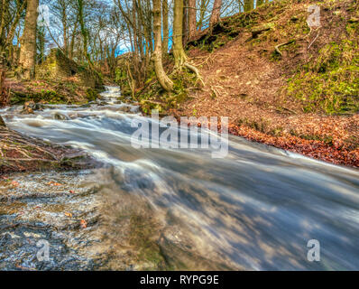 Bentley Brook, Lumsdale Valley, Matlock, Derbyshire, UK. 14th March, 2019. UK Weather high water levels at Bentley Brook in the Lumsdale Valley perfect for spectacular slow stutter speed HDR Photography. Credit: Doug Blane/Alamy Live News - Stock Image