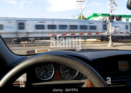 commuter, commuter rail, commuter train, day, information, New York City, nyc, nobody, outdoors, passenger, passenger, - Stock Image