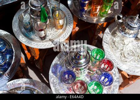 Pots of mint tea & glasses, The Souk, Marrakech, Morocco - Stock Image