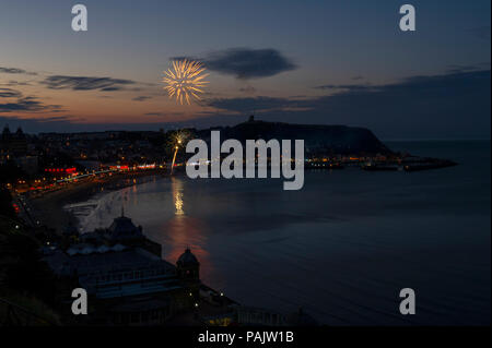 Fireworks over South Bay Beach and the harbour during Seafest in Scarborough on the North Yorkshire Coast - Stock Image