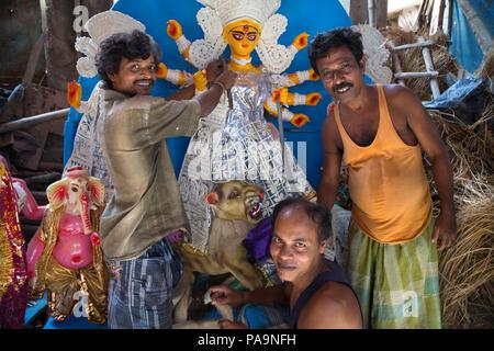 Making of Durga statue (pandal) in Kumartuli area before Durga  puja celebration in Kolkata, India - Stock Image