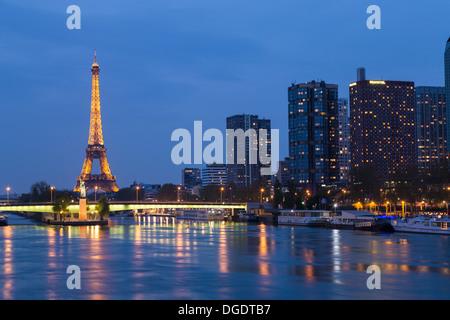 Eiffel Tower at twilight Paris France - Stock Image