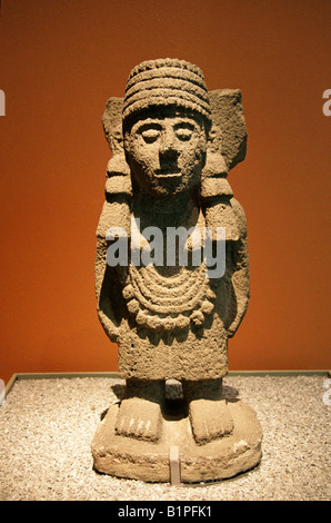 Stone Statue, Aztec Pre-Columbian Art, National Museum of Anthropology, Chapultepec Park, Mexico City, Mexico - Stock Image