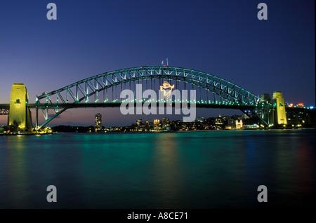 Australia New South Wales Sydney Harbour Bridge Dove as New Year decoration - Stock Image