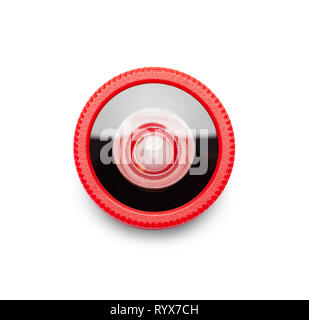 Small Red Phone Wide Angle Camera Lens Isolated on White. - Stock Image