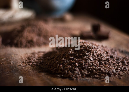 Chocolate for making truffles ganache, finely chopped to a powder - Stock Image