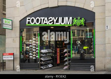 Entrance to a FootAsylum shop on Above Bar in Southampton city centre, England, UK - Stock Image