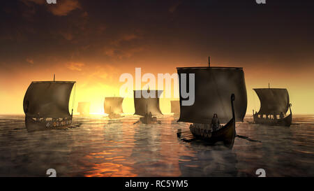 Vikings ships on the foggy water. Misty morning by the sunrise. 3D render illustration. - Stock Image