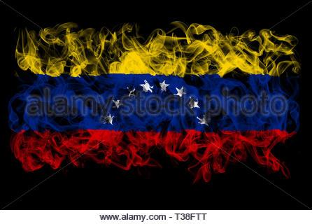 Smoking flag of Venezuela - Stock Image