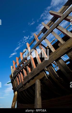 Shipyard for wooden small vessels and boats in Betina island Murter in Dalmatia Croatia - Stock Image