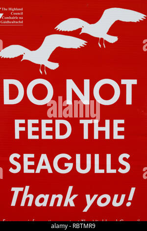 sign of the Highland Council 'do not feed the seagulls' on the Isle of Skye Scotland - Stock Image