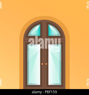 The door is on yellow background. Ancient wooden door with highlights in cartoon style - Stock Image