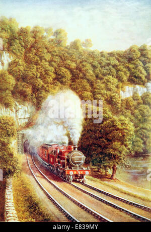 The Midland Scotch Express traversing the Picturesque County of the Dales Yorkshire UK circa 1920 - Stock Image