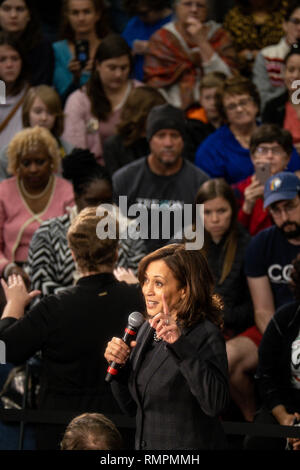 North Charleston, United States. 15th Feb, 2019. Senator Kamala Harris address a town hall event during her campaign for the Democratic presidential nomination February 15, 2019 in North Charleston, South Carolina. South Carolina is the first southern democratic primary for the presidential race. Credit: Planetpix/Alamy Live News - Stock Image