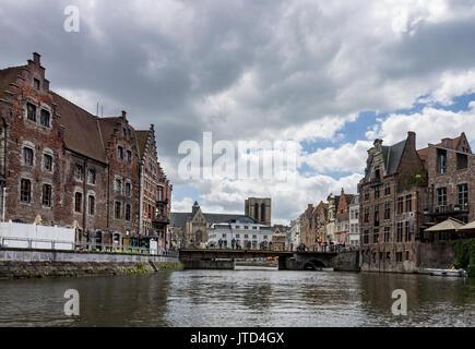 Saint Michael Church Historical Buildings Lys River Ghent Belgium - Stock Image