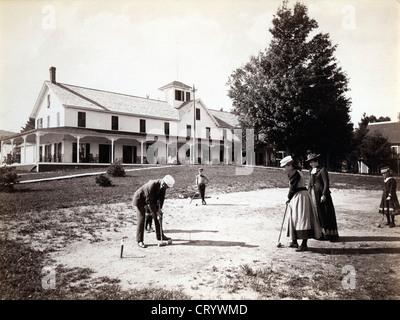 aylor House, Schroon Lake, New York, Adirondacks, ca 1888, by Seneca Ray Stoddard - Stock Image