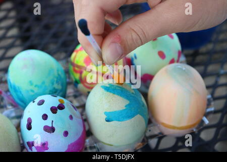 Close up of decorated easter eggs - Stock Image