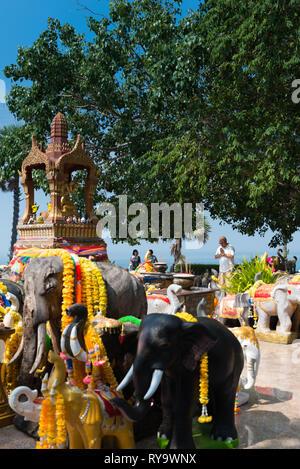 Shrine to elephants on Promthep cape, Phuket - Stock Image