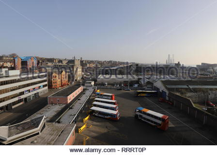 Elevated view of Seagate Bus Station Dundee Scotland  February 2019 - Stock Image