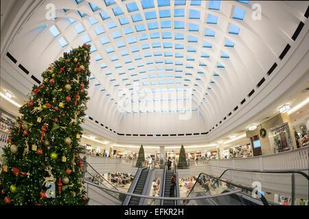 Galeria Kaufhof , Christmas Tree, Department Store , Atrium, Modern Architecture, Alexanderplatz, Berlin - Stock Image