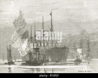 Arrival of the Great Eastern at Trinity Bay, Newfoundland and Labrador province of Canada, 27 July 1866 - Stock Image