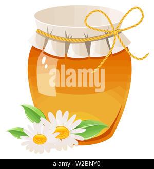 honey bee jar natural yellow dessert sweet flower breakfast illustration - Stock Image