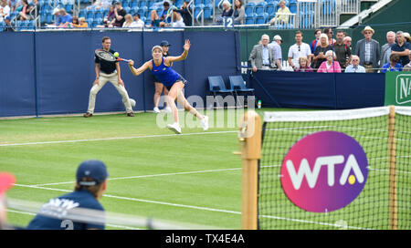 Eastbourne UK 24th June 2019 -  Danielle Collins of USA  plays a shot against Yulia Putintseva of Kazakhstan during their match at the Nature Valley International tennis tournament held at Devonshire Park in Eastbourne . Credit : Simon Dack / TPI / Alamy Live News - Stock Image