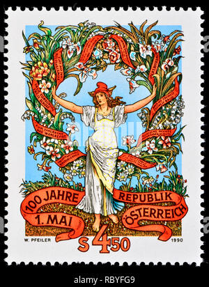 Austrian postage stamp (1990) : 100th anniversary of may Day / Labour Day - Historical motive of a May Day pamphlet - Stock Image