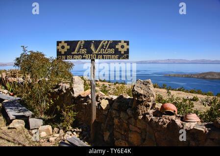 Las Vellas Restauran in Lake Titicaca from Isla del Sol, Bolivia - Stock Image